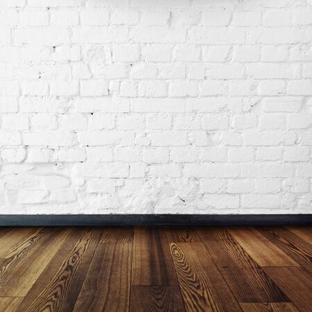timber floor: brick room and wooden floor,room interior vintage with white brick wall and wood floor background