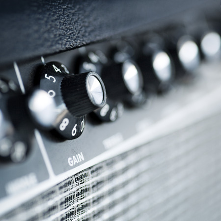 volume button guitar amplifier  closeup