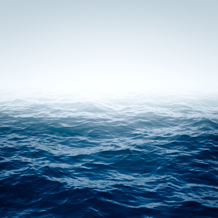 deep sea: Blue Ocean with waves and clear blue sky Blue water surface Stock Photo