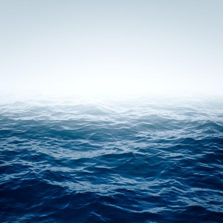 olas de mar: Océano azul con olas y clara superficie del agua azul cielo azul