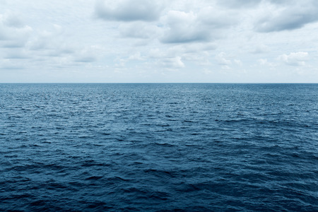 cold water: blue sea and cloudy sky waves in Atlantic Ocean