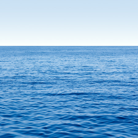 blue sea: Empty Blue Ocean and Blue Sky sea horizon Stock Photo