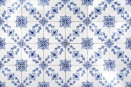 portugal: Traditional portuguese tiles,Blue azulejos on the buildings exterior in Lisbon, Portugal.