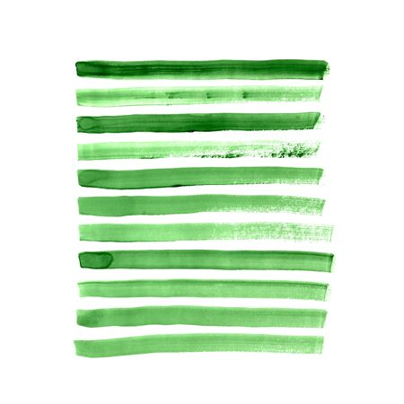 green brush strokes collection Stock Photo