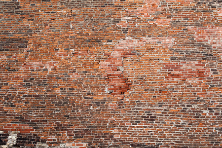 Background of old vintage brick wall red brick wall texture grunge background