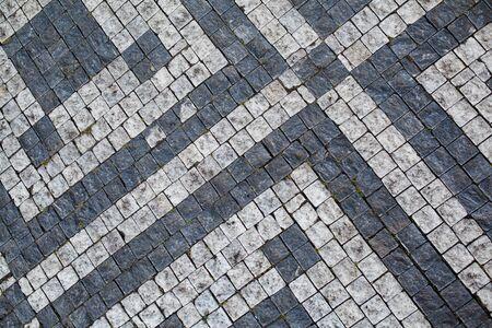 pavement: Stone pavement texture, Granite cobblestoned pavement background, Abstract background of old cobblestone pavement close-up Stock Photo