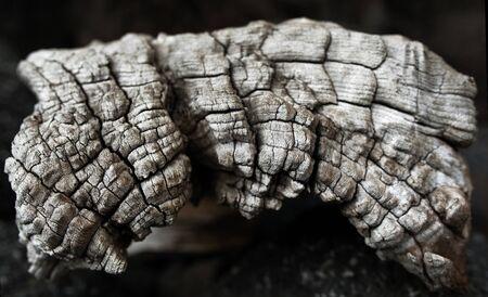 Close-up van oude verouderde gebarsten hout profiel oppervlak textuur