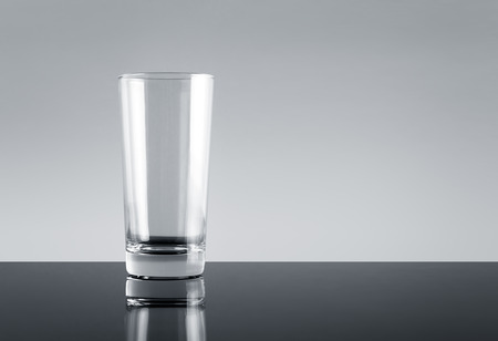 glass cup: Empty drinking glass cup with copyspace