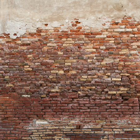 brick texture: red brick wall texture grunge background damaged plaster wall Stock Photo
