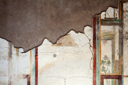 Fresco on the wall in Pompeii, Italy. Background close up