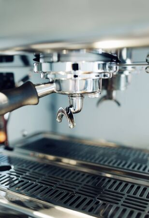 Professional Coffee machine Close up with shallow depth of field