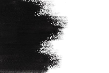 白の背景に黒のデザイン ペイント ブラシ ストローク