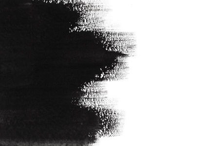 Black design paint brush strokes on white background Imagens