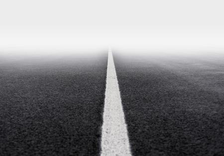 fog: fog asphalt road Stock Photo