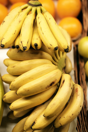 ripened: bunch of ripened bananas at grocery market Stock Photo