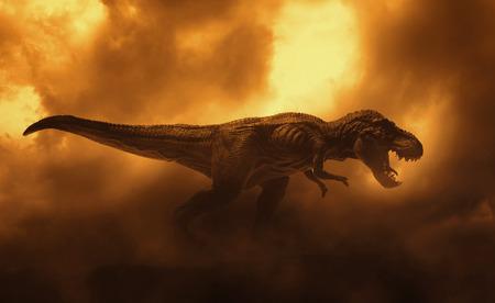 dinosaurussen t rex in brand achtergrond rook Stockfoto