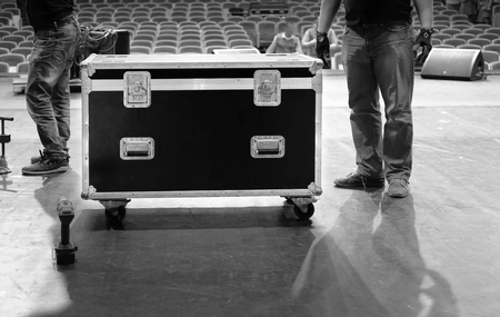 Road case with metal latches on stage 스톡 콘텐츠