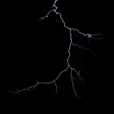 lightning bolt isolated on black background Stock Photo
