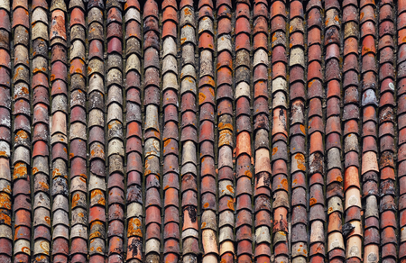 background of old ramshackle roof tiles top view