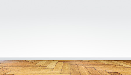 white empty room interior with wooden floor and white wall