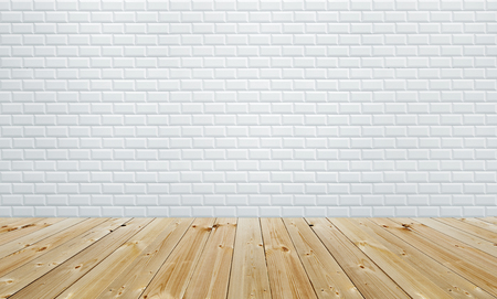 White tiles wall background empty room interior with wooden floor