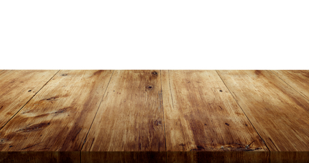 wood table top on isolated white background, wooden floor - can use for mock up your products