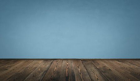 empty room and wooden floor with dark blue wall for background Reklamní fotografie