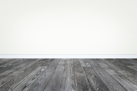 white empty room interior with wooden floor and beige white wall
