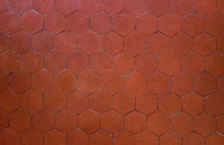 red brown hexagon clay tile background, abstract wall earthenware tile