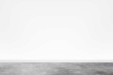 White wall empty interior with concrete floor background