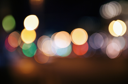 defocused city night filtered bokeh abstract background, night city lights blur