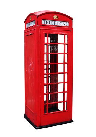 Classic British Red telephone booth in London UK, United Kingdom telephone box isolated on white background Stock Photo