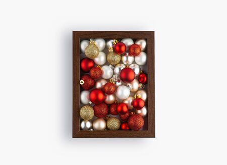 Christmas composition, Photo frame, Colorful decorations with christmas balls on white background. Christmas, winter, new year concept. Flat lay, top view, copy space Stock Photo