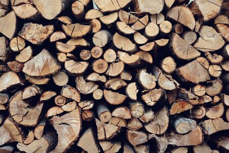 pile of firewood close up background