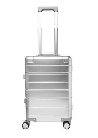 白い背景、フロントビューに分離されたアルミニウムスーツケース