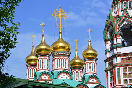 Domes and crosses of the Church of St. Nicholas in Khamovniki in Moscow Stock fotó