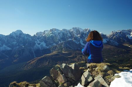 peacefulness: Looking at the Dolomites Stock Photo
