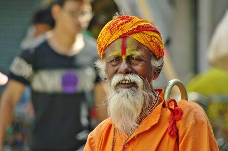 sadhu: KATHMANDU,NP CIRCA AUGUST 2012 - Sadhu portrait circa August 2012 in Kathmandu.In Hinduism, a sādhu (Sanskrit sādhu, good; good man, holy man) is a religious ascetic or holy person.