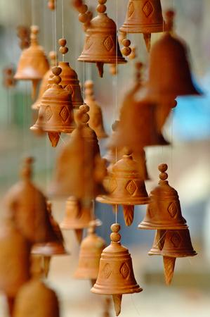 Clay little bell chimes in a Nepal bazaar