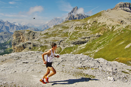 SEXTEN, IT - CIRCA AUGUST 2011.Mountain runner in the Dolomites.