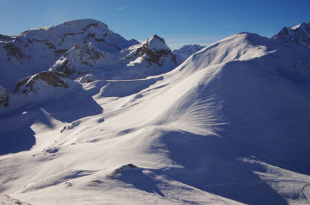untouched: Untouched snow fields in French Alps near Briancon. Stock Photo