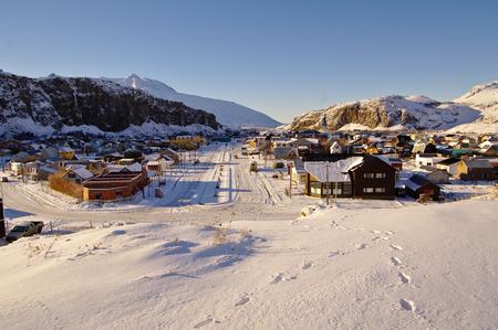 chalten: View of El Chalten, Patagonia Argentina, after a heavy snowfall