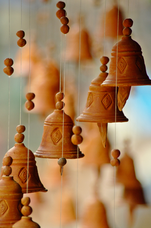 Clay little bell chimes in a Nepal bazaar