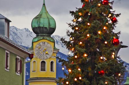 osttirol: LIENZ,AT - DECEMBER,25 2012 - Lienz streets with Christmas lights.