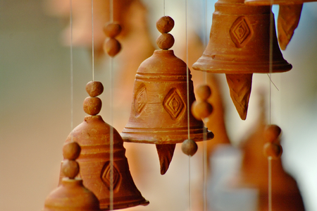 little bell: Clay little bell chimes in a Nepal bazaar