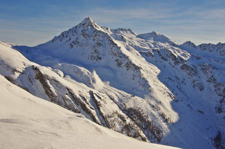 snow covered mountains: Snow covered mountains of Carinthia, near Heiligenblut Stock Photo