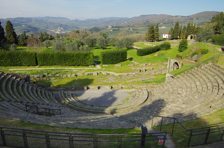 FIESOLE,IT - CIRCA JUNE 2015 - View of the roman theater of Fiesole, near Florence Editorial