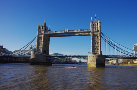 LONDON,UK - 01 DEC 2016 - Tower Bridge seen from a boat on the Thames
