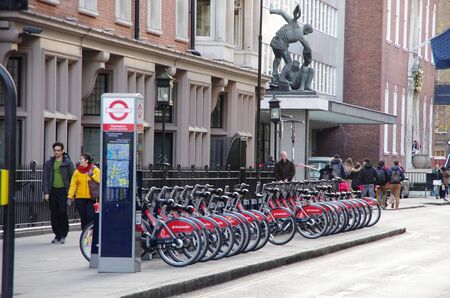 cycles: LONDON,UK - 01 DEC 2016 - Public cycles on the street of London, an ecologic transport.