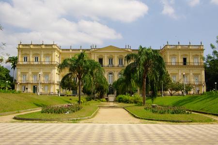 RIO DE JANEIRO, BR - CIRCA AUGUST 2011 - The National Museum facade, in the middle of the park Quinta da Boa Vista.